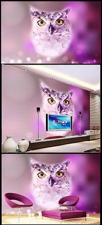 猫头鹰手绘立体背景墙