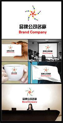 七彩圆点组成人物图案的公司标志