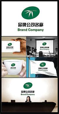 竹叶图案的绿色环保主题公司标志