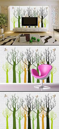 彩色抽象树砖墙3D电视背景墙