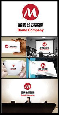 字母M变形大气主题的公司标志 AI