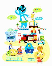 动物聚会插画