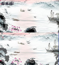 梦幻水墨山水荷花风景国画视频