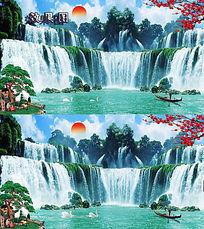 瀑布流水背景视频