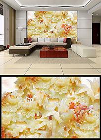 玉雕菊花壁画客厅电视背景墙