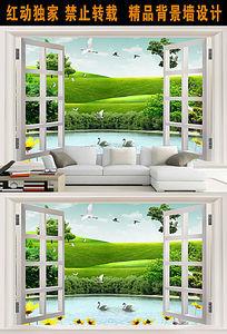 3D立体壁画窗外美景客厅电视背景墙