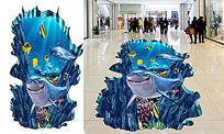 3D鲨鱼地贴画 PSD