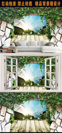 3D自然景观客厅电视背景墙装饰画