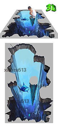 高清逼真海底世界3D地板 3D立体画