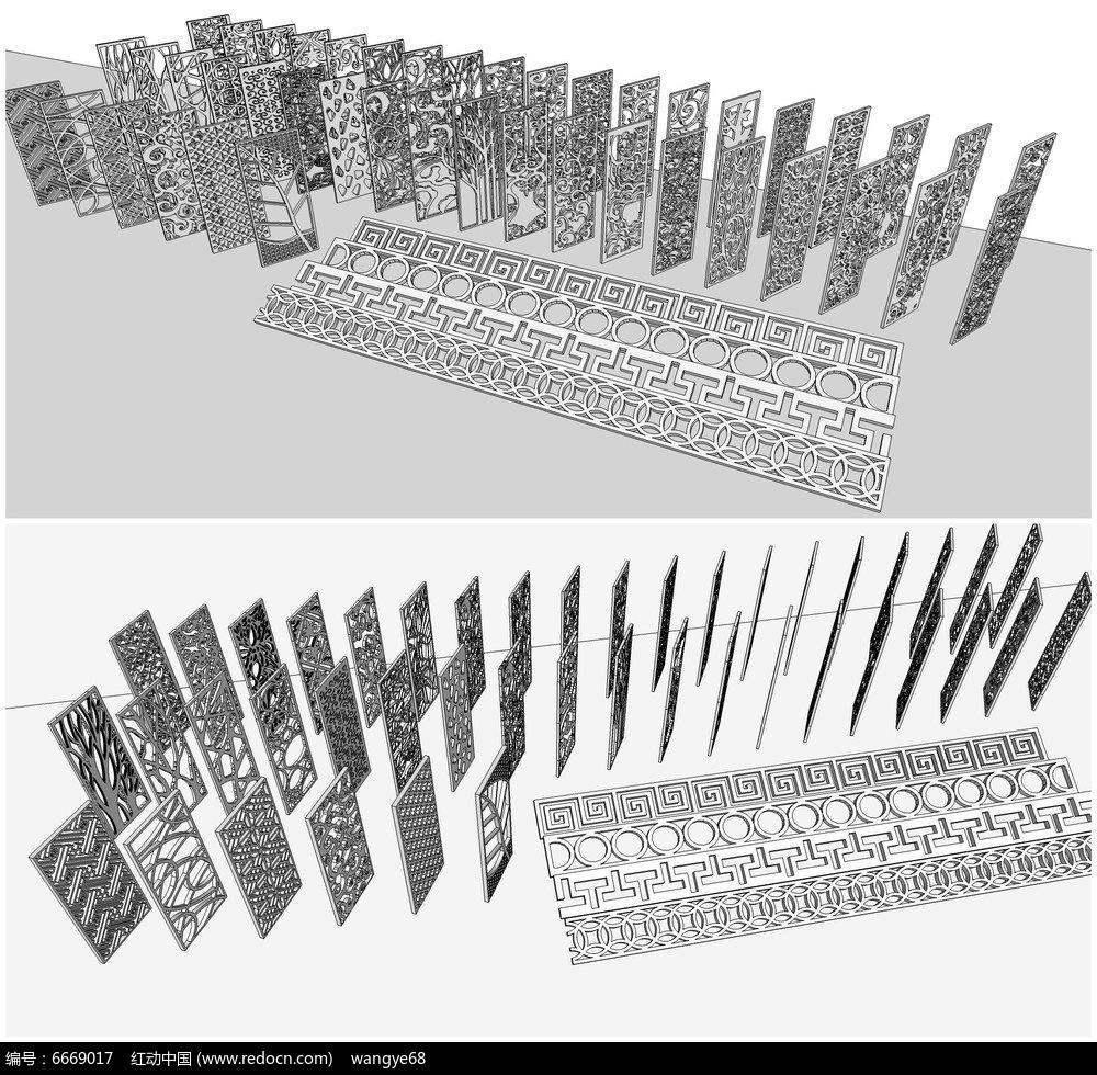 欧式雕花镂空隔断屏风su模型素材下载