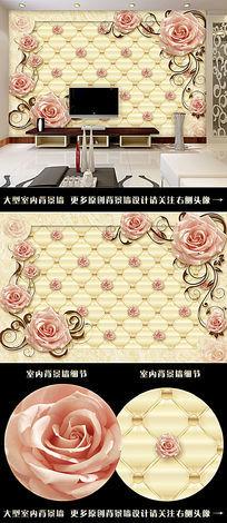 欧式软包大理石玫瑰墙