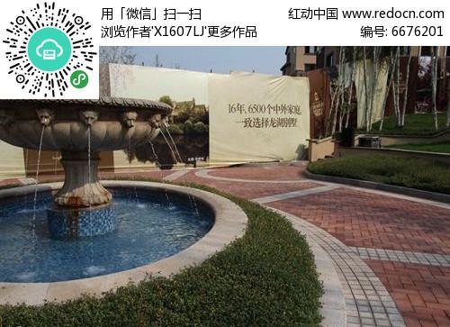 欧式圆形水池中心吐水花钵水景景池