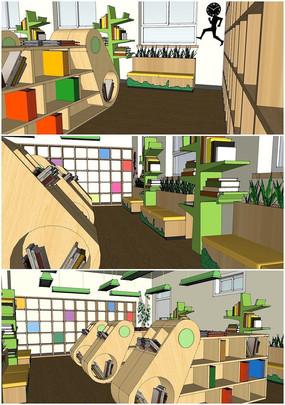 室内图书室的SU模型设计