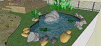 庭院自然水池景观 skp