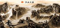 中国风山水画电视背景墙墙纸设计模版 PSD