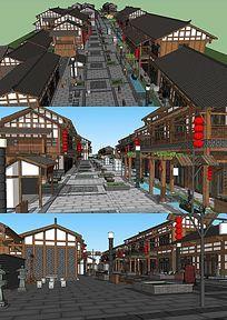 中式商业街的SU模型设计