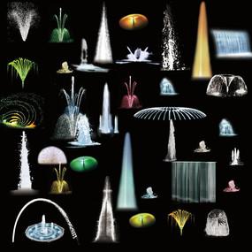 各种样式的喷泉夜景效果PSD PSD
