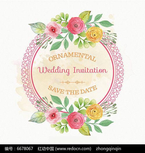 婚礼手绘花纹圆圈边框