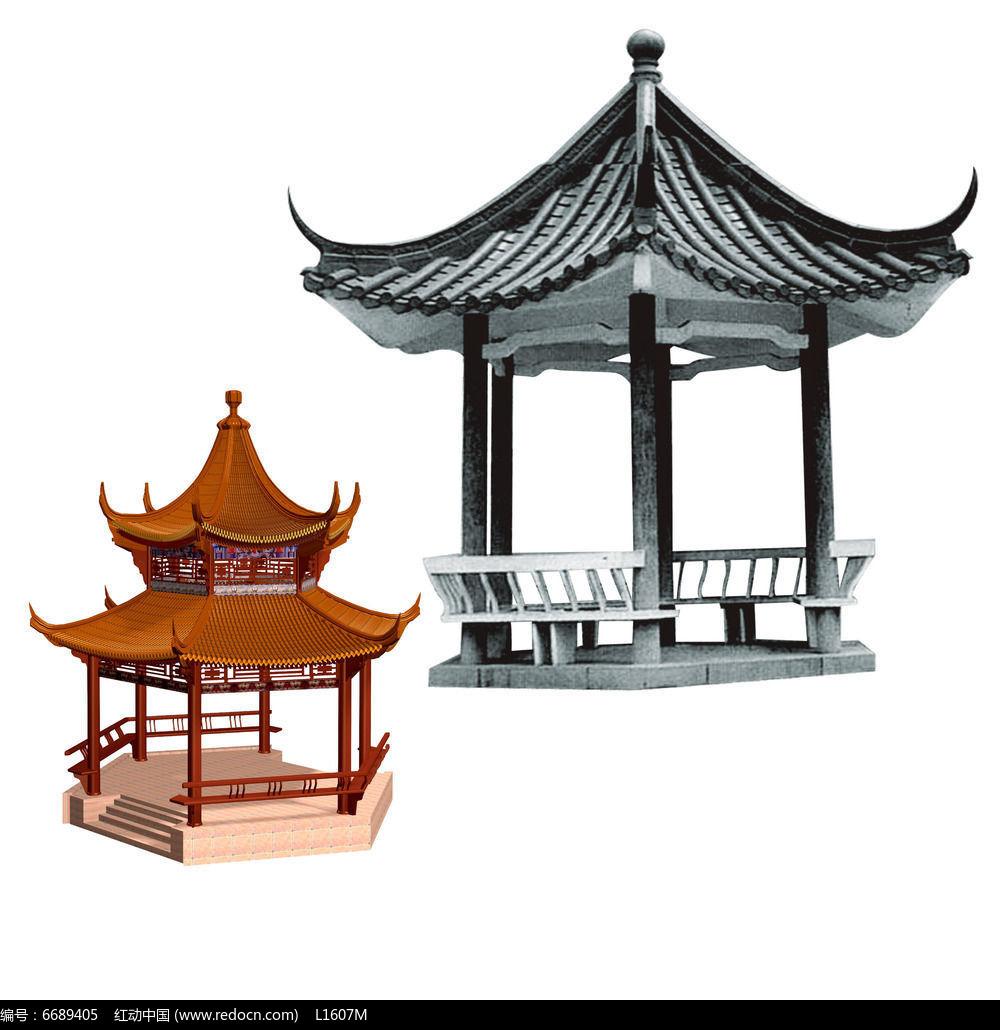 六角亭素材psd素材下载_手绘素材设计图片