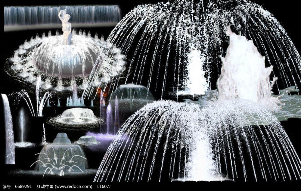 圆形喷泉透视效果ps素材
