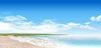 海边的蓝天白云PS素材分层