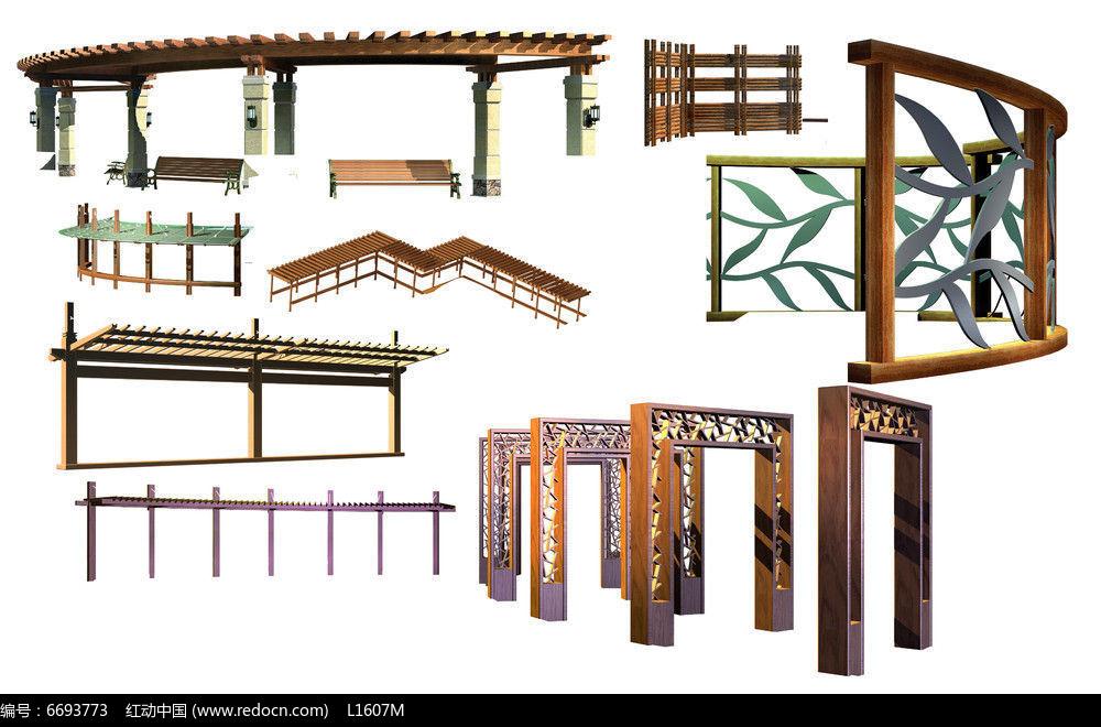 廊架素材psd素材下载_手绘素材设计图片