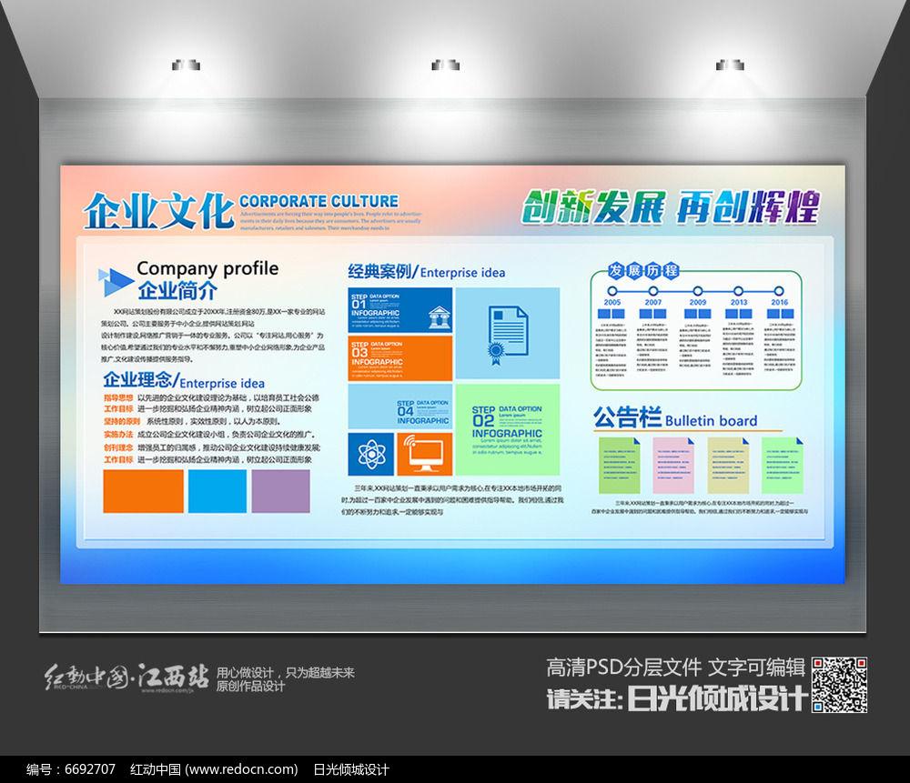 蓝色创意企业文化宣传栏展板设计