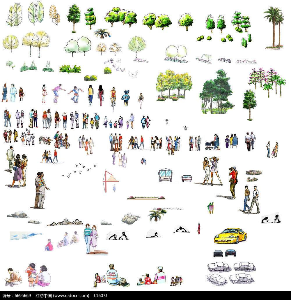 手绘立面素材 植物,人,车,石头