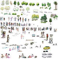 手绘立面素材  植物、人、车、石头