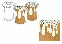 彩珠甜筒雪糕冰激凌甜蜜女装T恤定位印花矢量图单向循环无限缩放