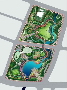 城市公园生态平面PSD