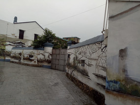 古镇围墙装饰画