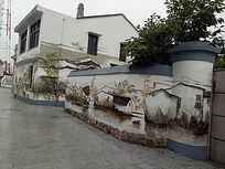 徽派建筑墙面手绘装饰画