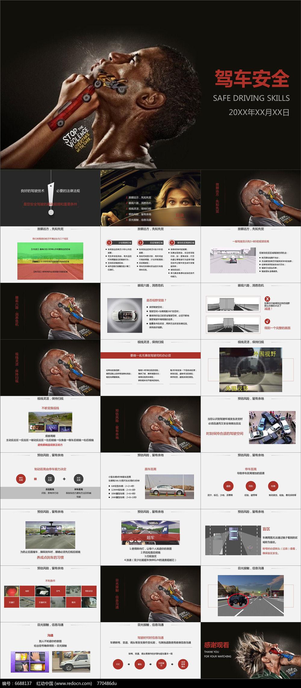 驾车安全交通安全创意宣传广告ppt模板