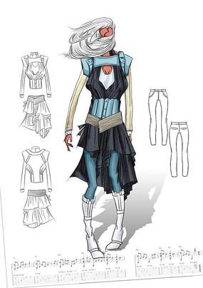 女装手绘效果图PSD