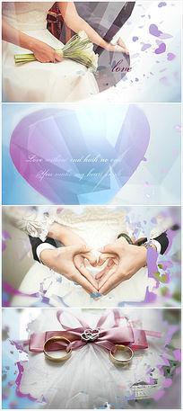 唯美创意爱心钻石转场婚礼ae模板 aep
