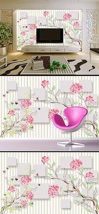3D立体方块花卉花藤电视背景墙