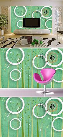 抽象树福字3D立体圆圈电视背景墙