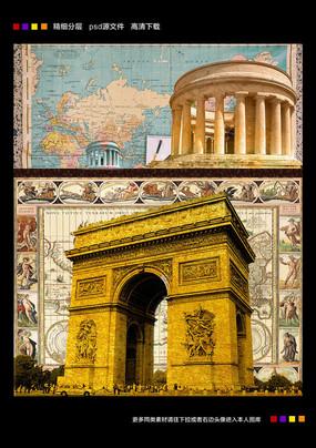 复古欧美城堡世界地图藏宝图背景墙