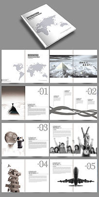简约灰白创意企业宣传画册模板下载