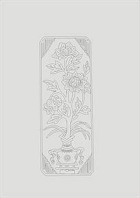 手绘花纹盆景线稿