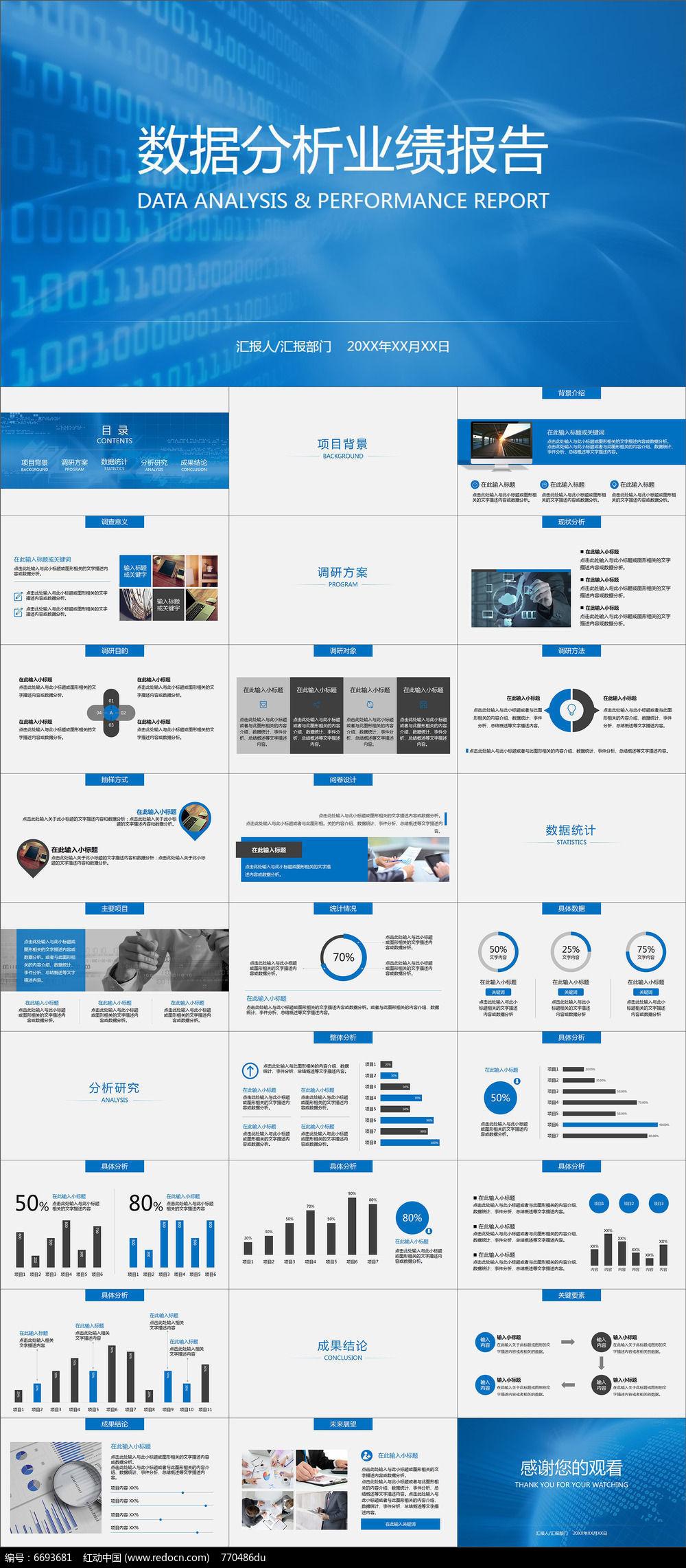 数据分析业绩报告市场调研动画ppt模板