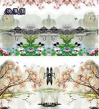 江南水墨荷花玉兰山水背景墙视频