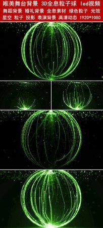粒子星空绿色主题背景3D全息粒子球led视频素材