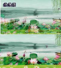 梦幻江南荷花山水背景墙视频