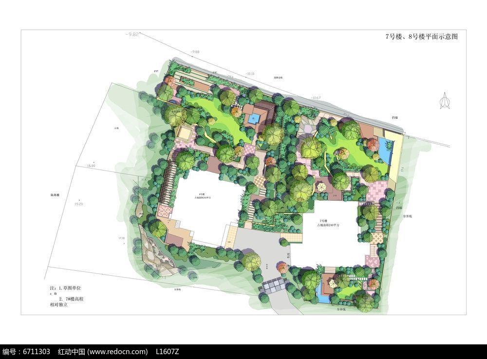 别墅庭院景观设计平面素材图片