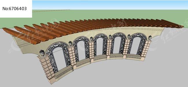 欧式铁艺拱形门木质弧形廊架素材下载