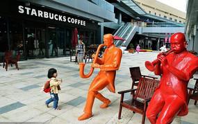 商业街吹奏人物雕塑