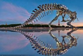 水景恐龙骨架雕塑小品