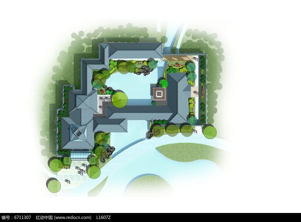 庭院景观设计彩色平面